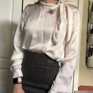 Zara Basics Neck Tie Button Up Blouse